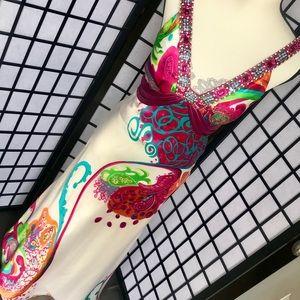 Blush formal dress size 2 beautiful bold colors 💚